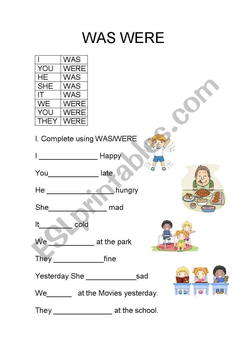 was were grammar worksheets pdf