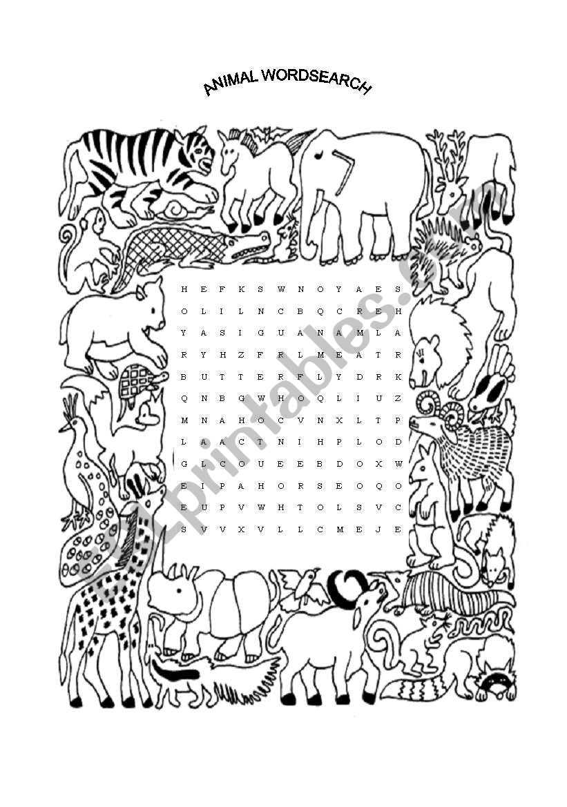 Animal Wordsearch (Worksheet #3)