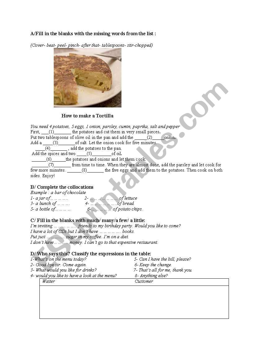 food and cooking worksheet