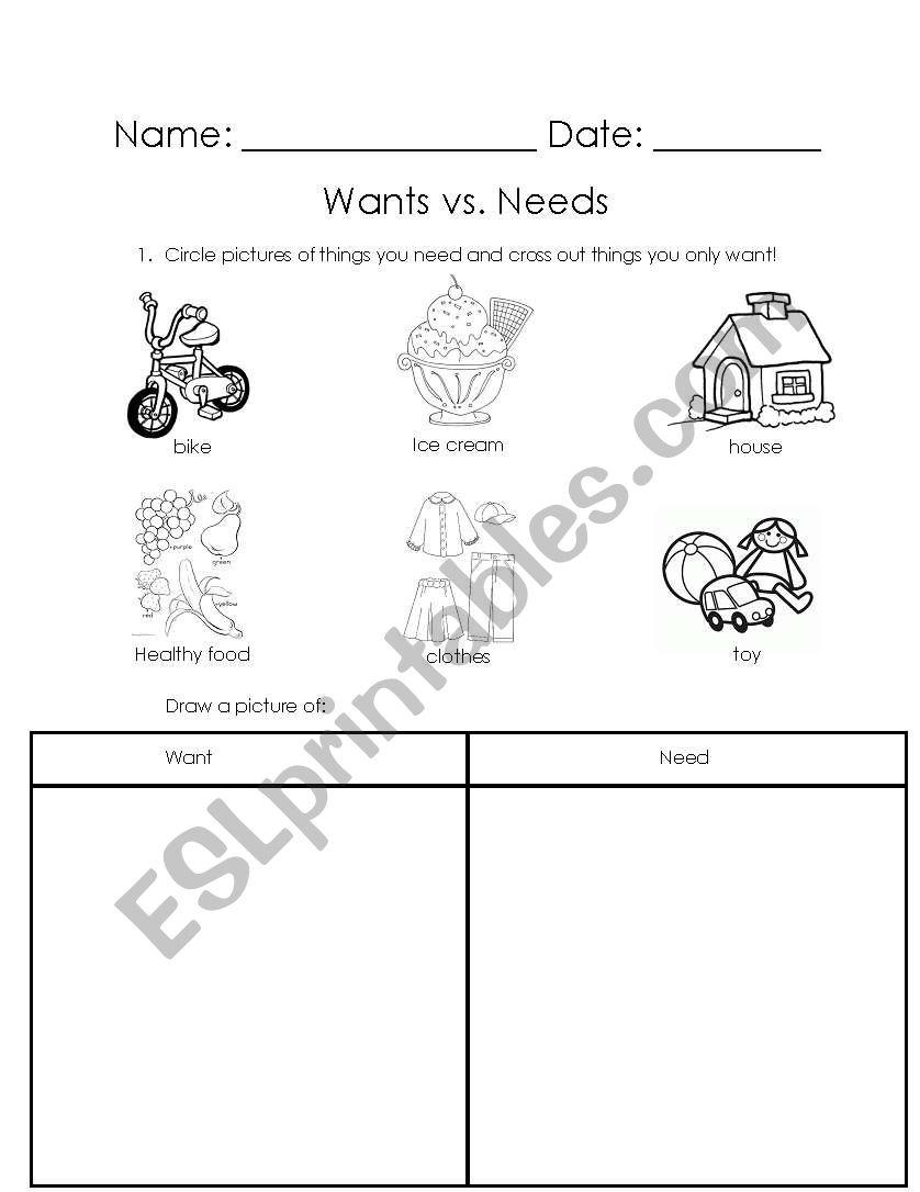 English Worksheets Wants Vs Needs