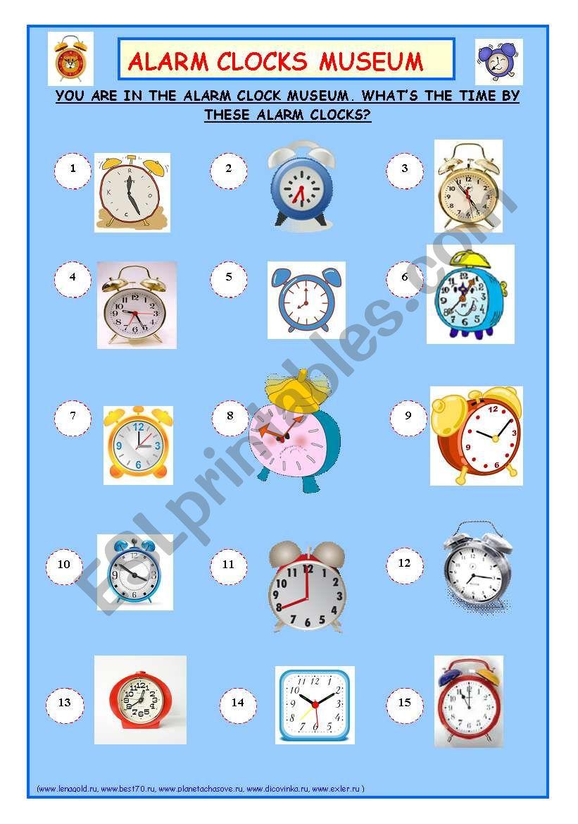 Alarm Clocks Museum worksheet