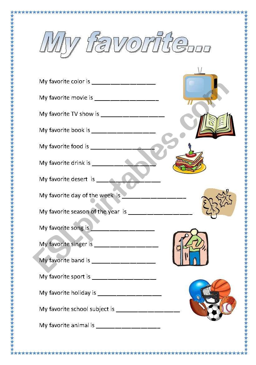 my favorite things esl worksheet by kontsy. Black Bedroom Furniture Sets. Home Design Ideas