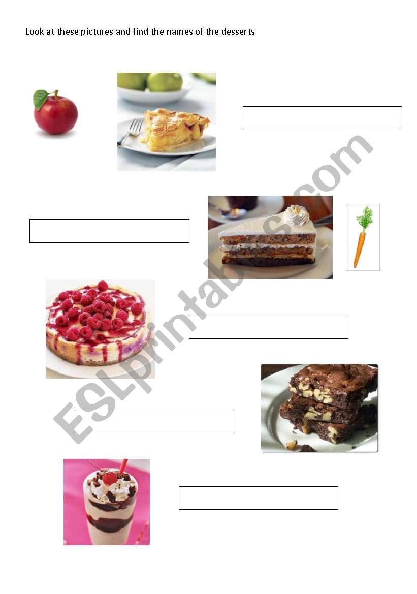 match the desserts with their pictures