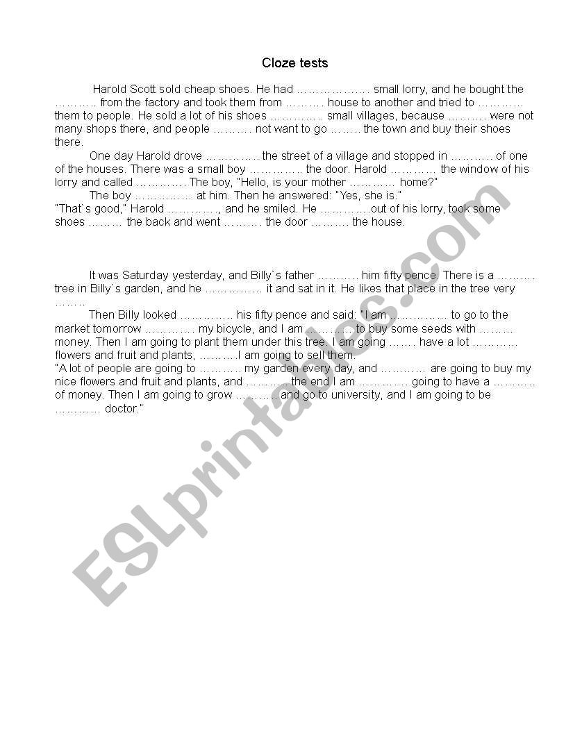 Cloze test worksheet