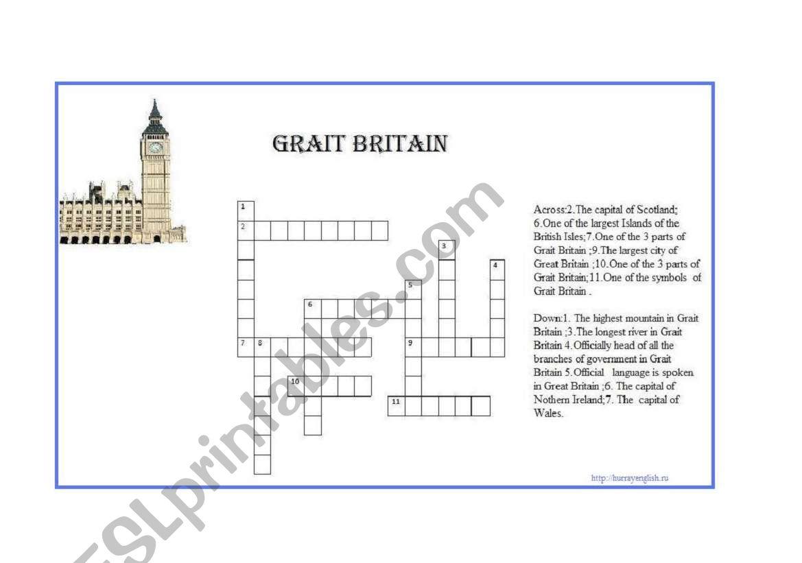 Grait Britain worksheet