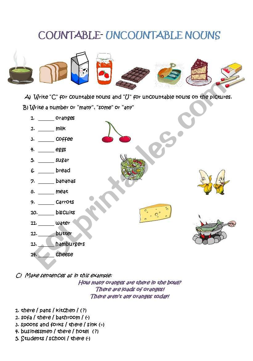 Countable Uncountable Nouns Esl Worksheet By Englishbutterflies