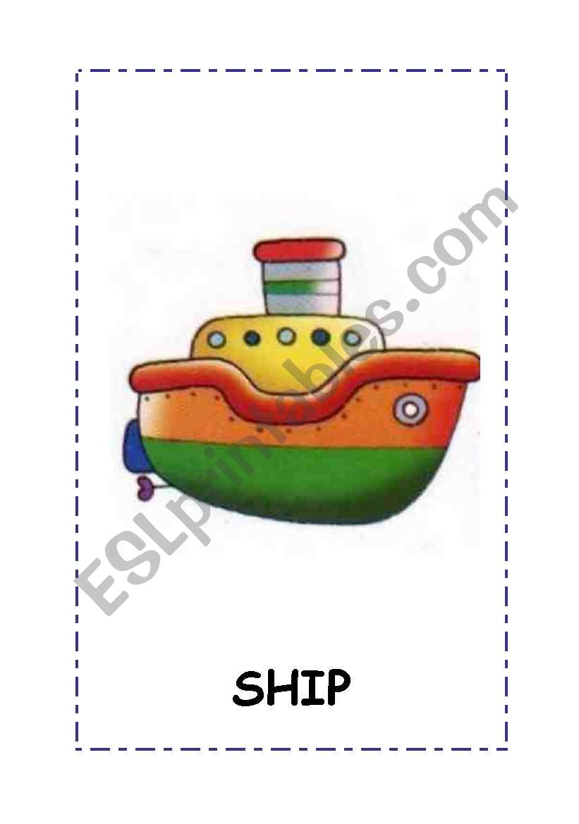 Transport flashcards.4 flashcars:boat,bike,car, train