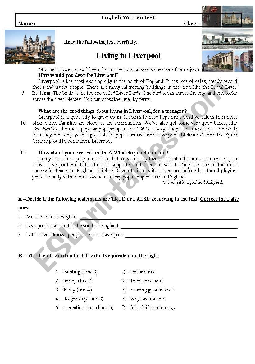 Test 8th Living in LIverpool worksheet