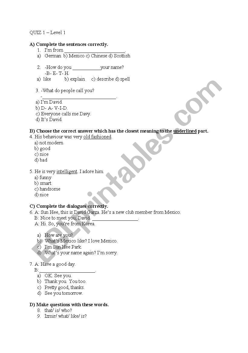 English worksheets: Interchange Unýt 1 Grammar & Vocabulary Quiz