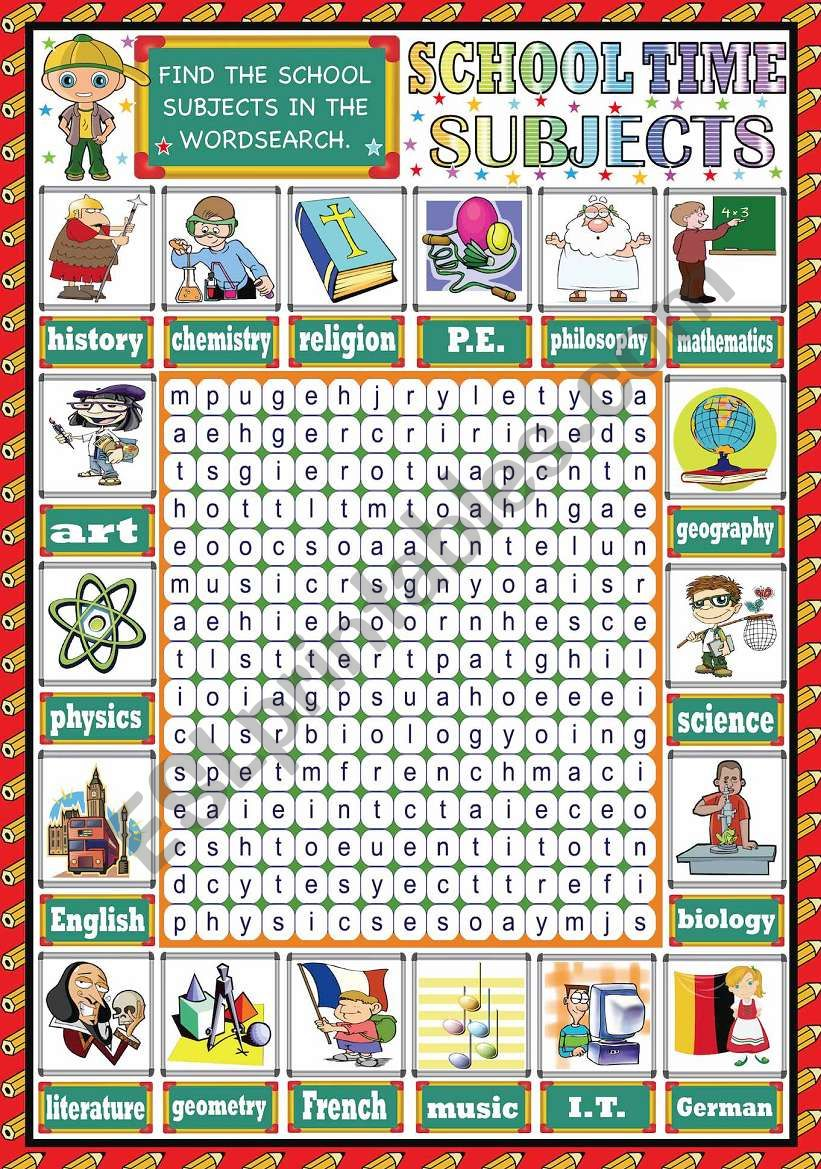 SCHOOL SUBJECTS PICTIONARY + WORDSEARCH