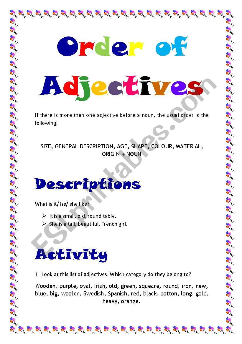 Order of adjectives worksheet