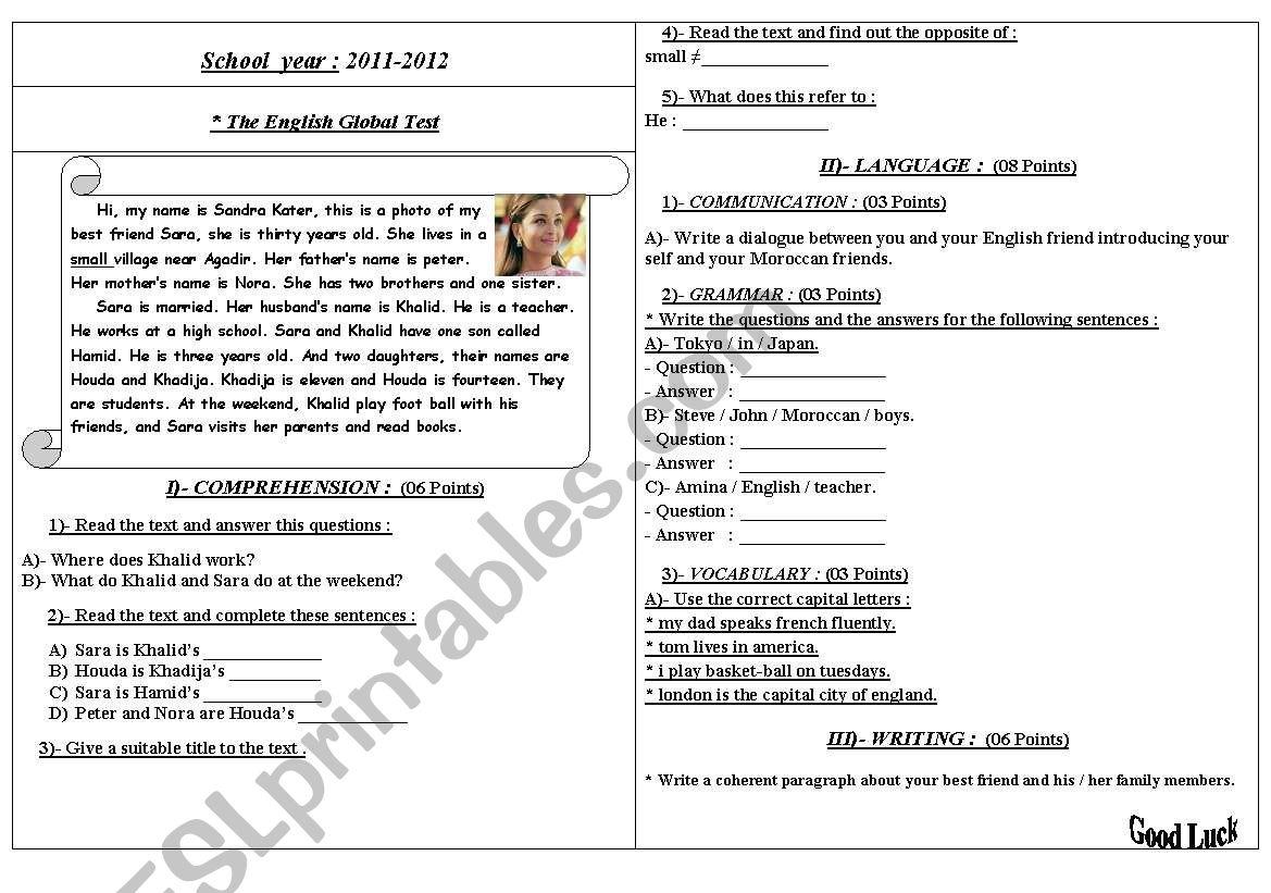 English global test worksheet