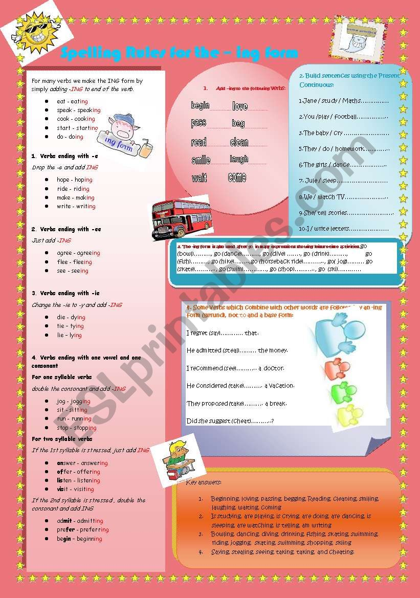 Spelling rules for the -ing form with some exercises and keys