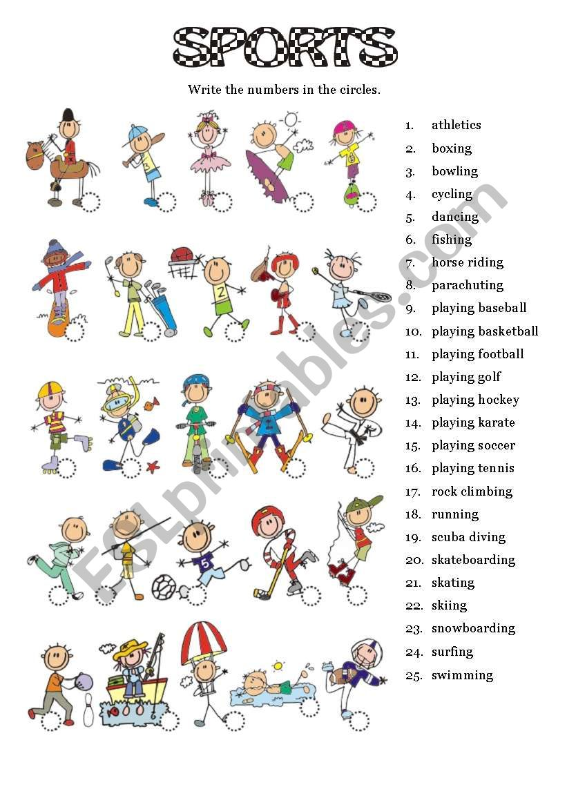 SPORTS - Picture dictionary worksheet