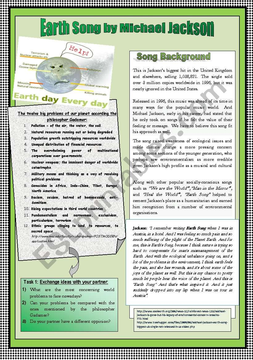 ENVIRONMENTAL ISSUES & PRESENT PERFECT & SIMPLE PAST PRACTICE THROUGH SONG WORKSHEET. NOTES FOR TEACHERS INCLUDED