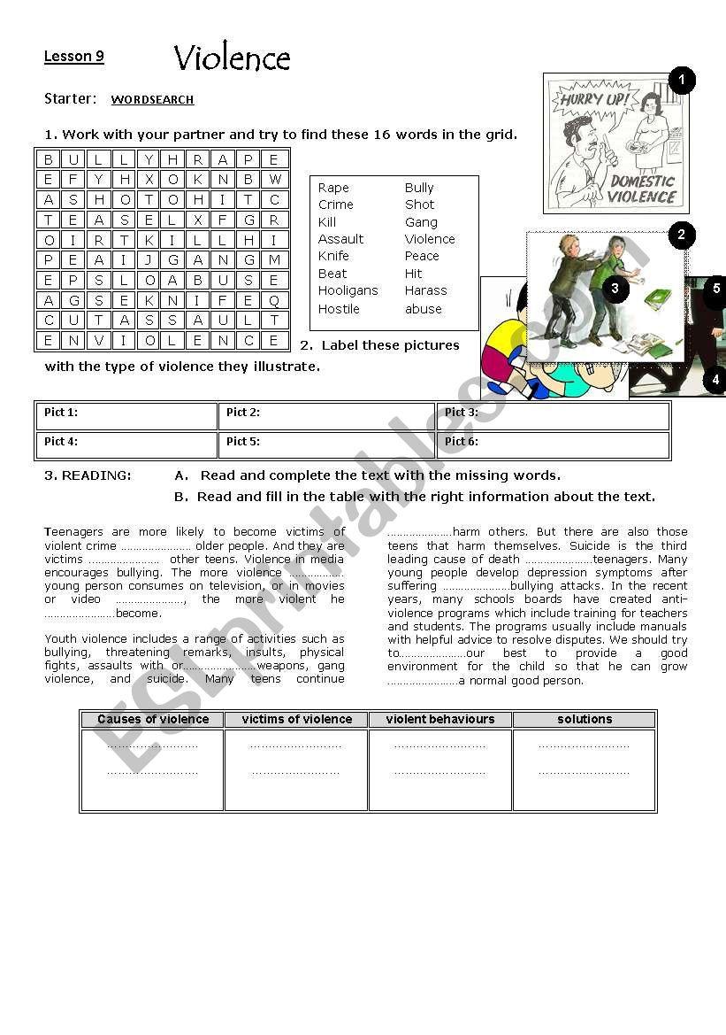 violence : lesson 9 worksheet