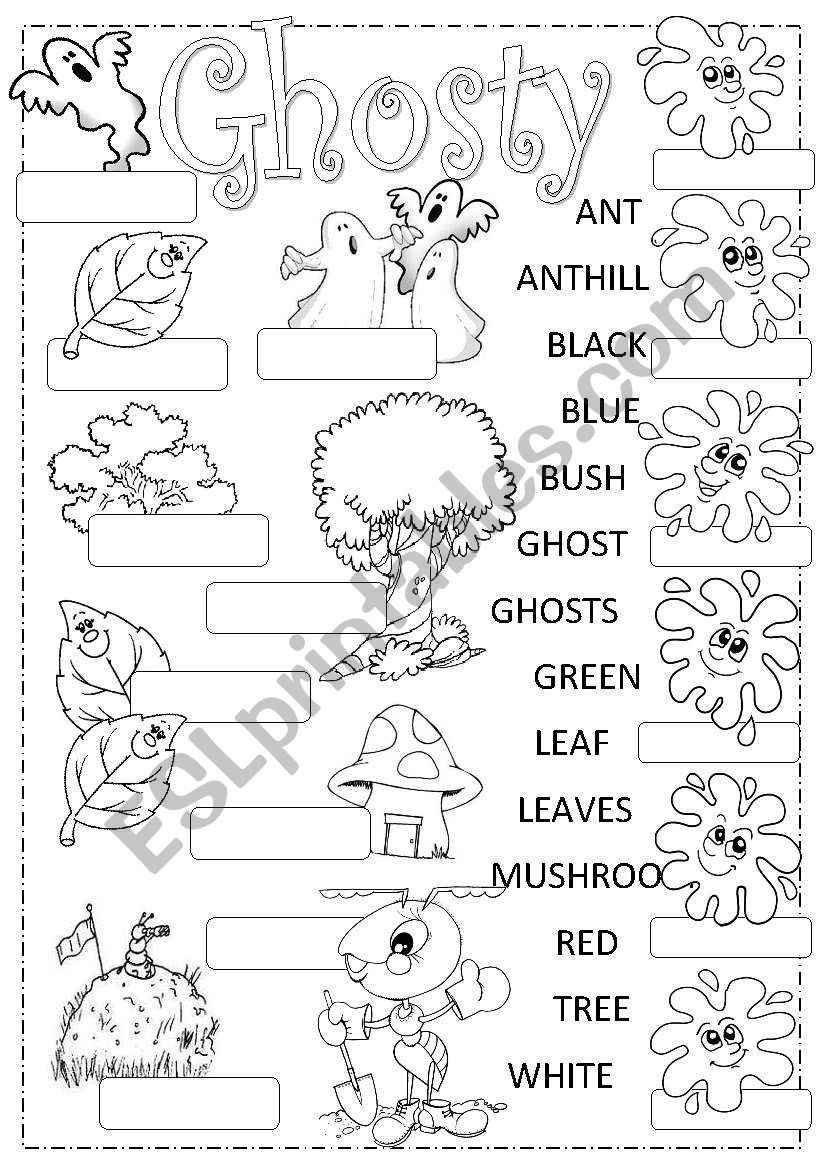 Ghosty finds friends worksheet