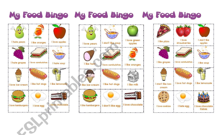 Food bingo worksheet
