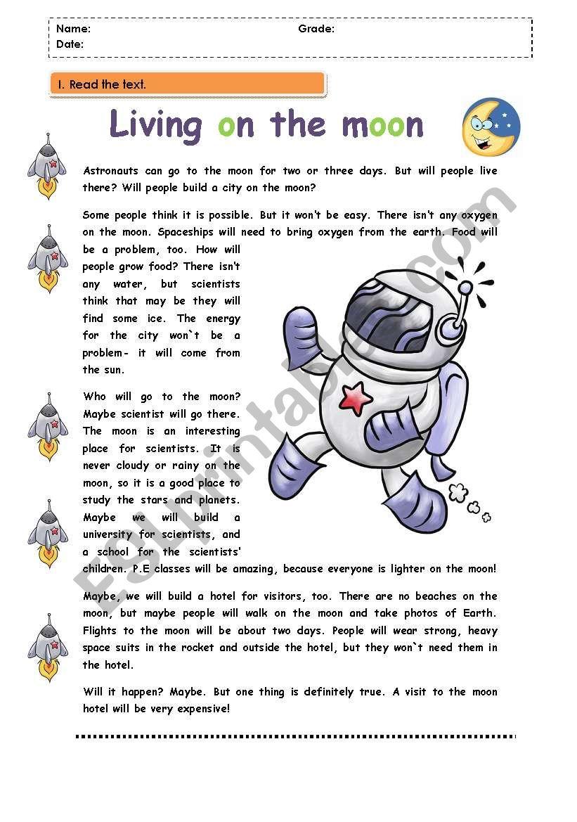 Living on the moon worksheet