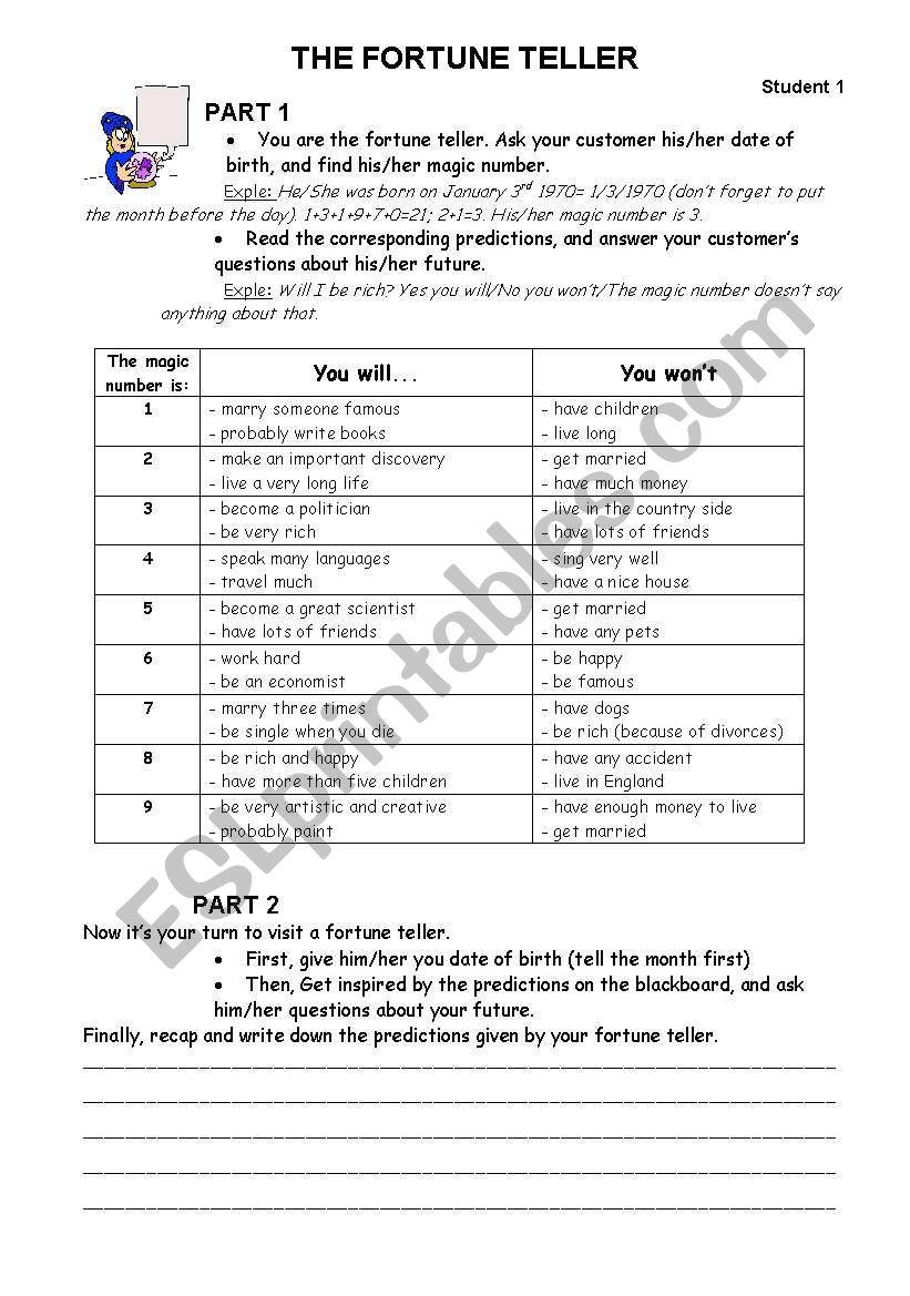 The Fortune Teller - ESL worksheet by clairette0205