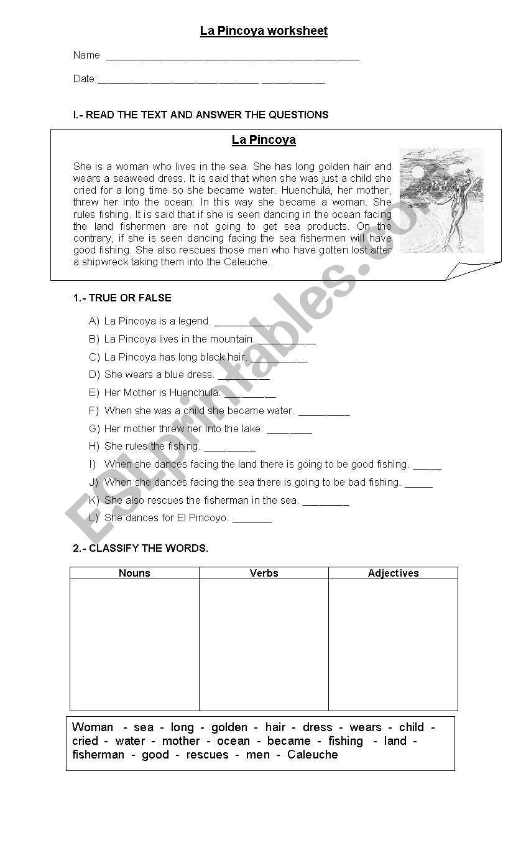 The Pincoya Leyend worksheet