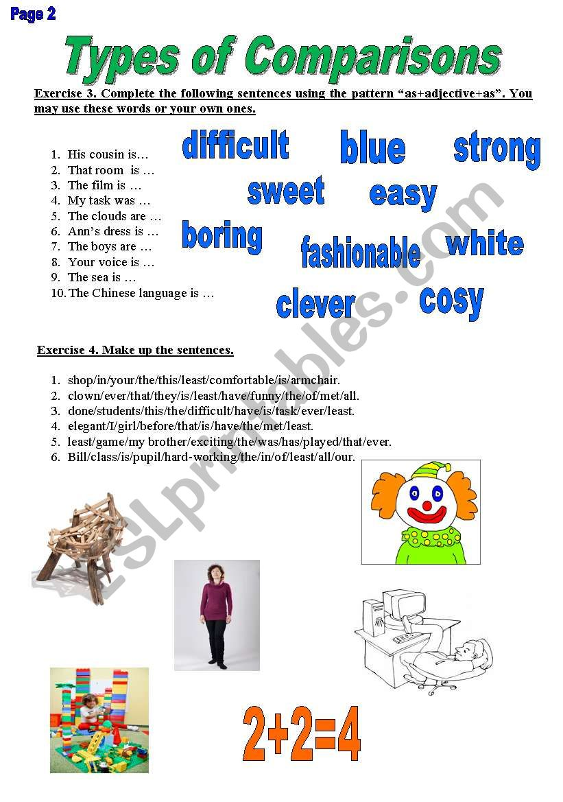 Types of Comparisons 2 worksheet