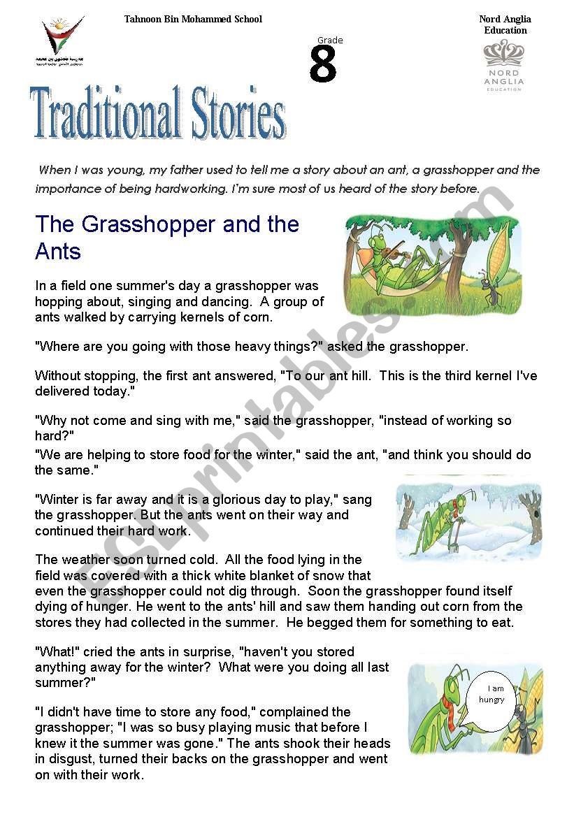 photograph about The Ant and the Grasshopper Story Printable named tradidional reports :the grhopper and the ant - ESL