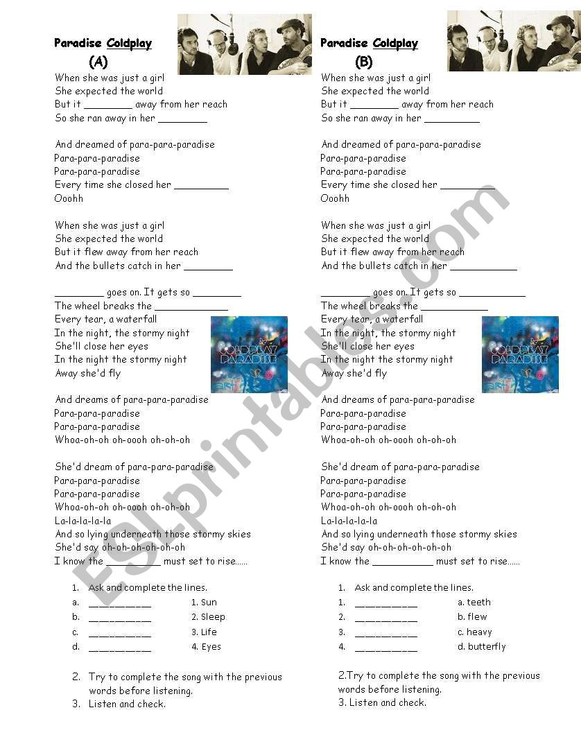 paradise by Coldplay worksheet
