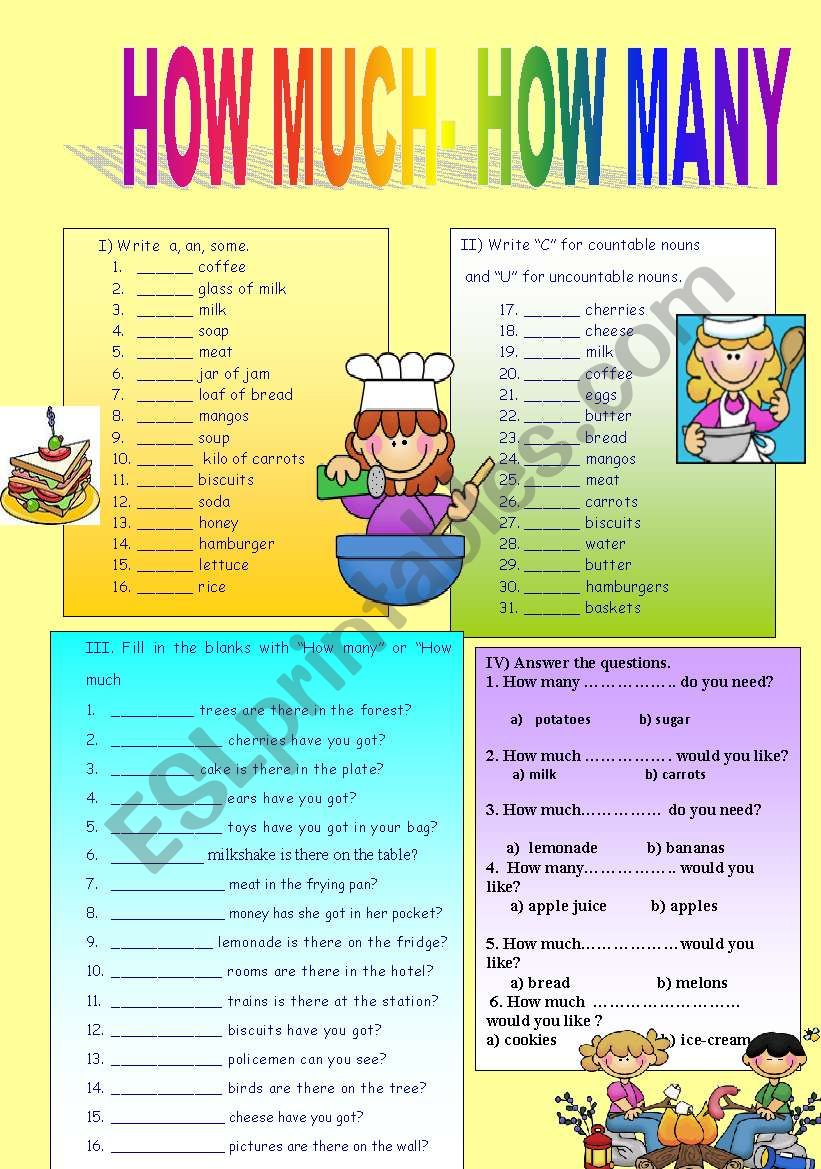 how many- how much worksheet