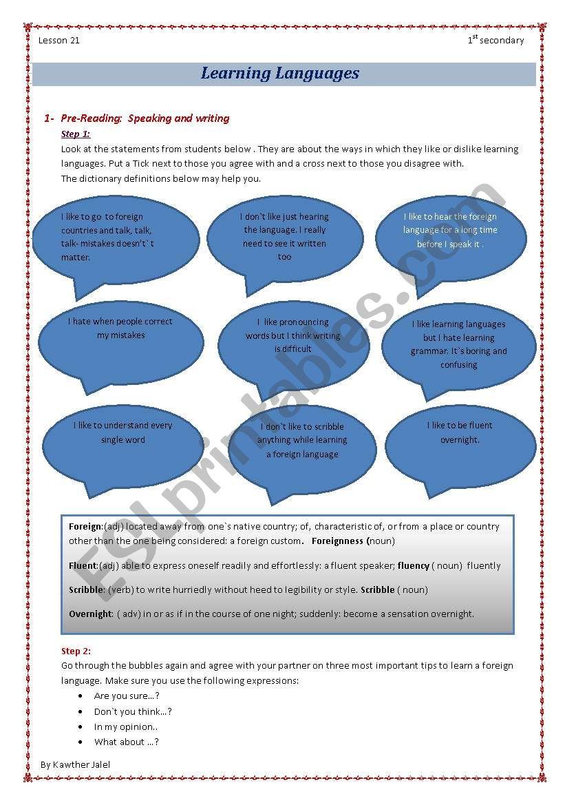 learning languages worksheet