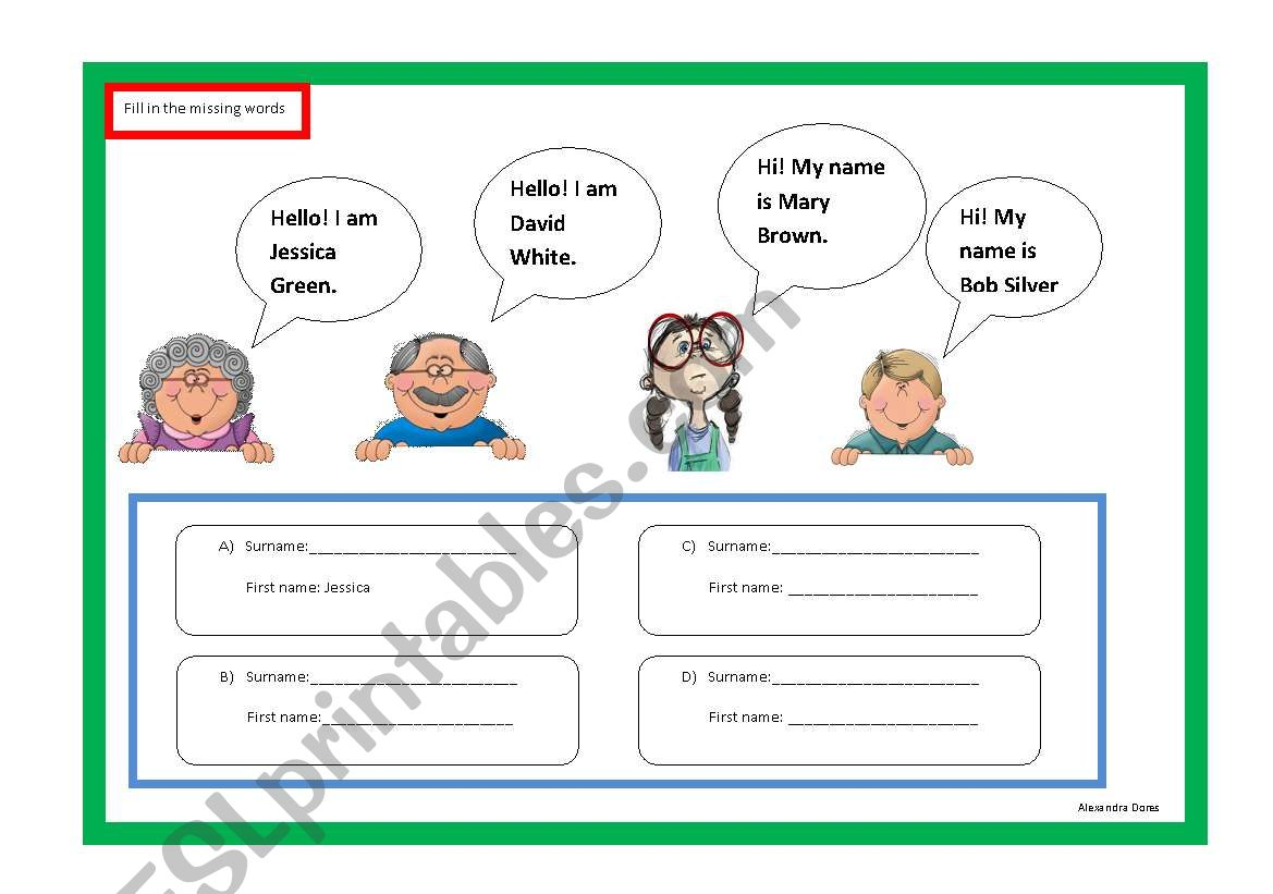 what´s your name/surname? worksheet
