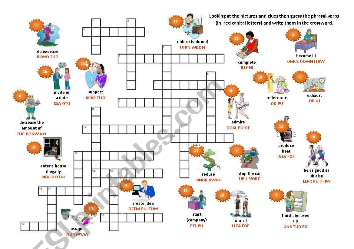 20 phrasal verbs - crossword worksheet