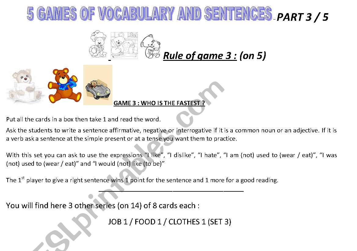 Games with words and sentences - Part 3 on 5  - ESL