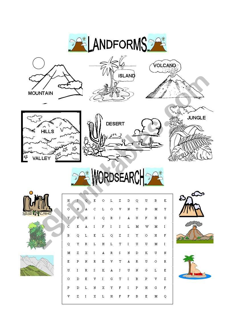 Landforms Esl Worksheet By Evaramos