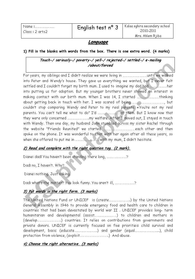 for 2 nd form tunisian students - ESL worksheet by bechirgamoudi