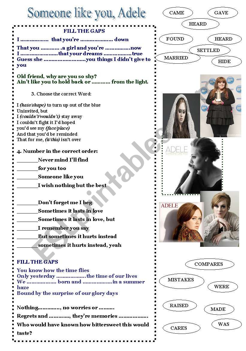 someone like you (Adele) worksheet