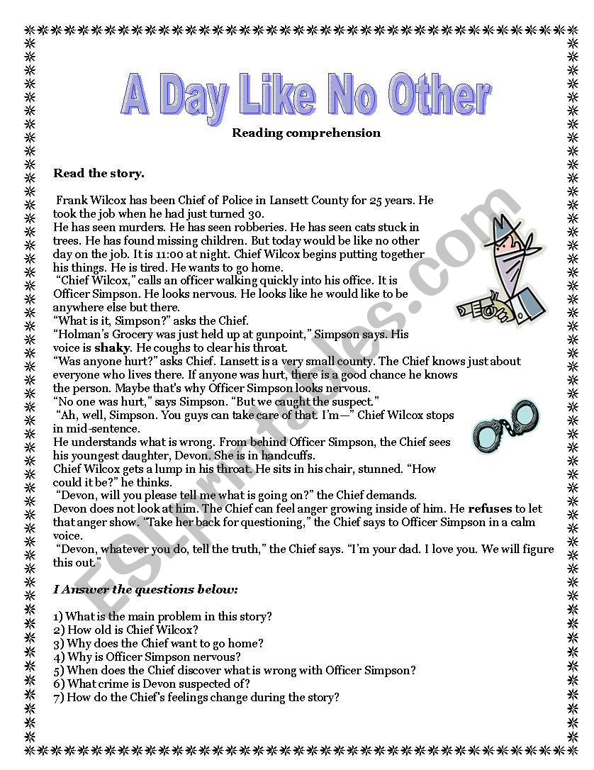 - A Day Like No Other -reading Comprehension, Vocabulary Exercises