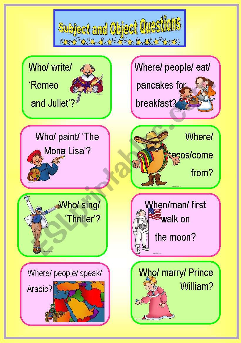 Subject and Object Questions Speaking Cards *with key*