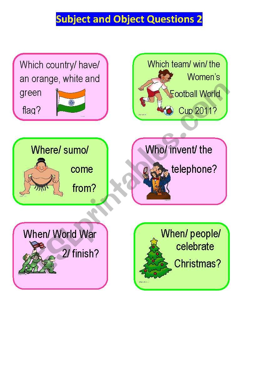 Subject and Object Questions Speaking Cards 2