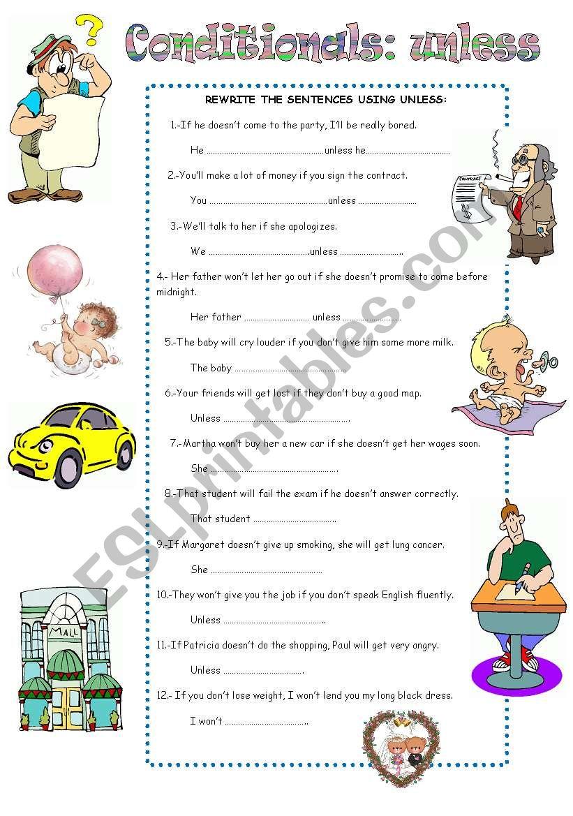 CONDITIONAL SENTENCES: UNLESS worksheet
