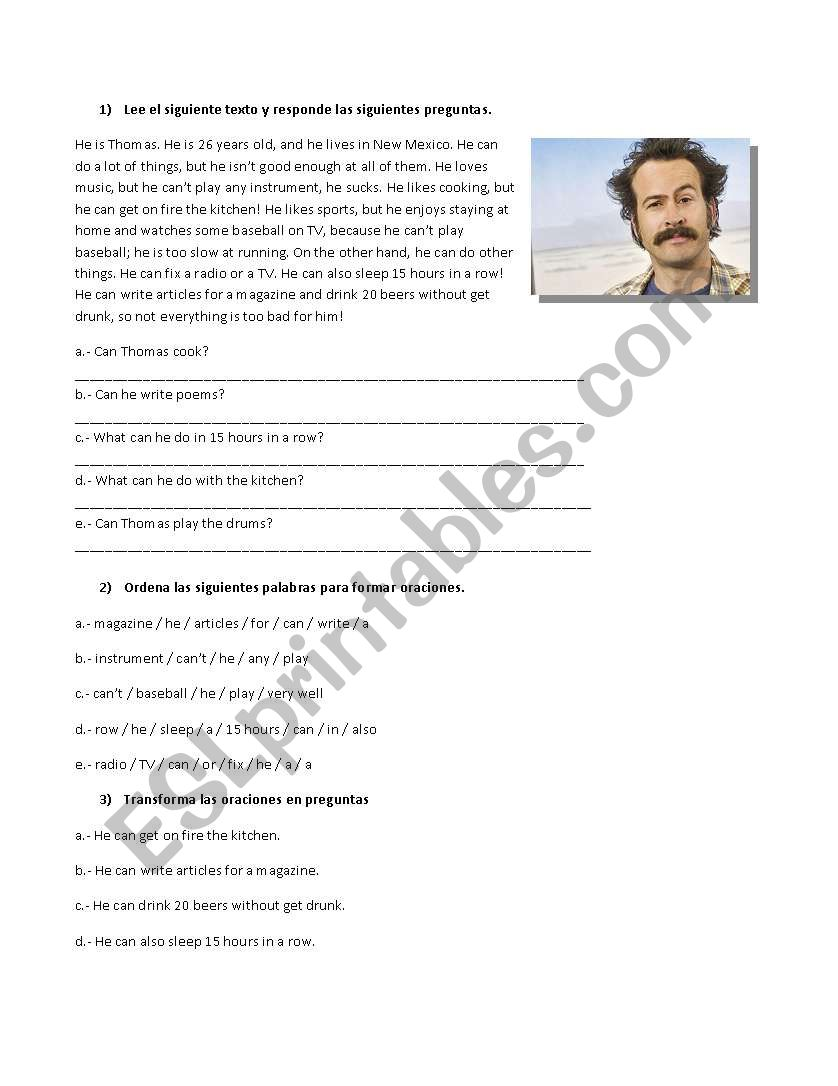 Can you... ? worksheet