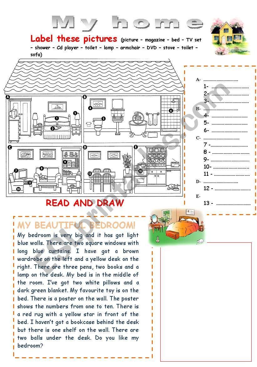 My Home Esl Worksheet By Souha