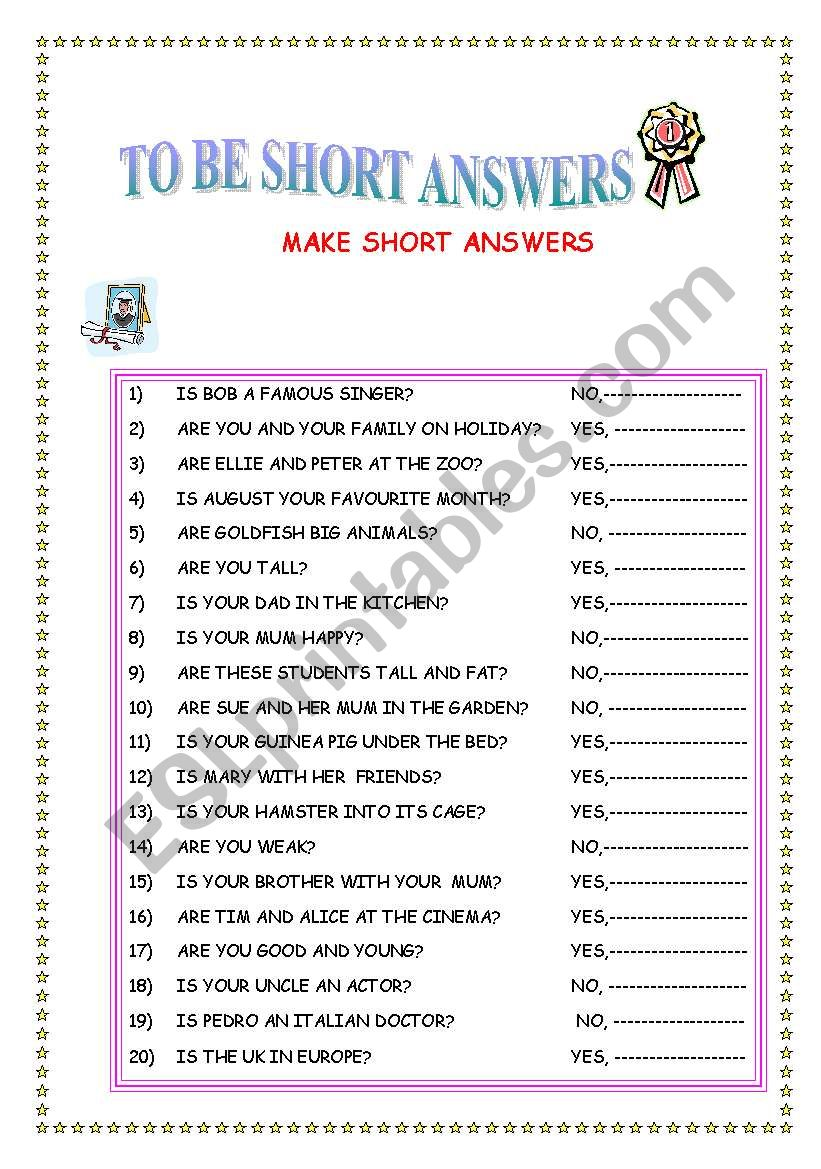 TO BE SHORT ANSWERS worksheet