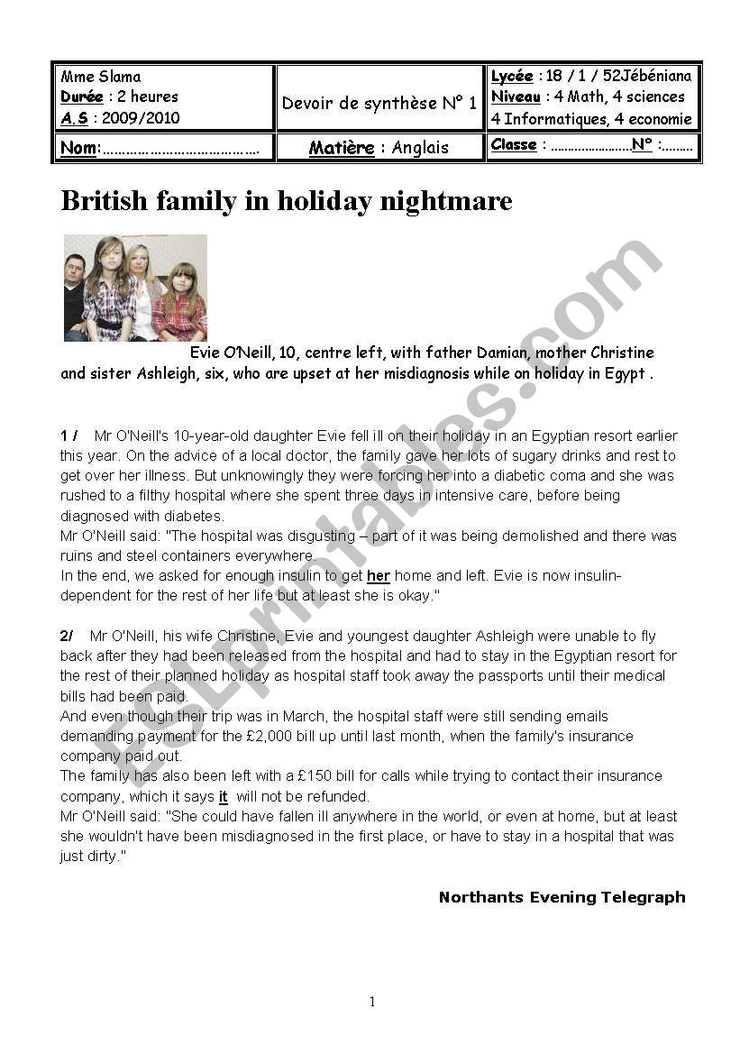 A holiday nightmare worksheet