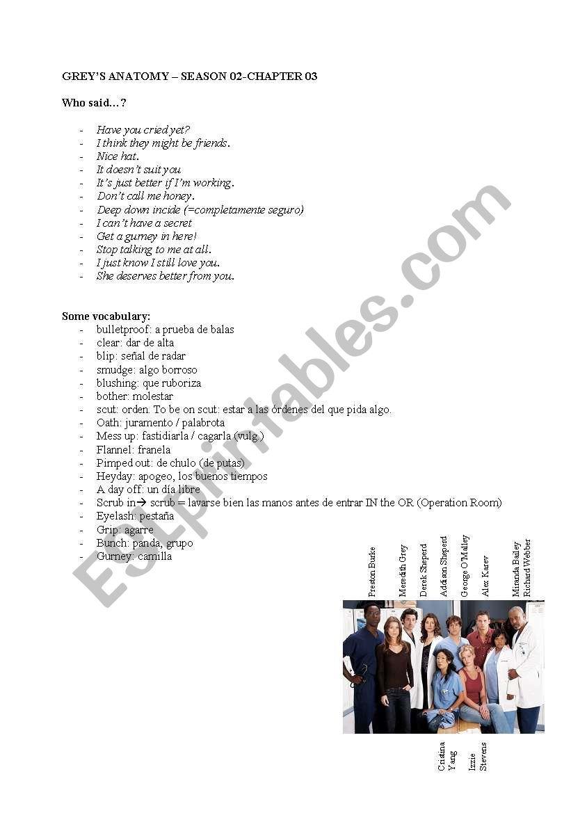 English worksheets: GREY´S ANATOMY SEASON02_CHAPTER03