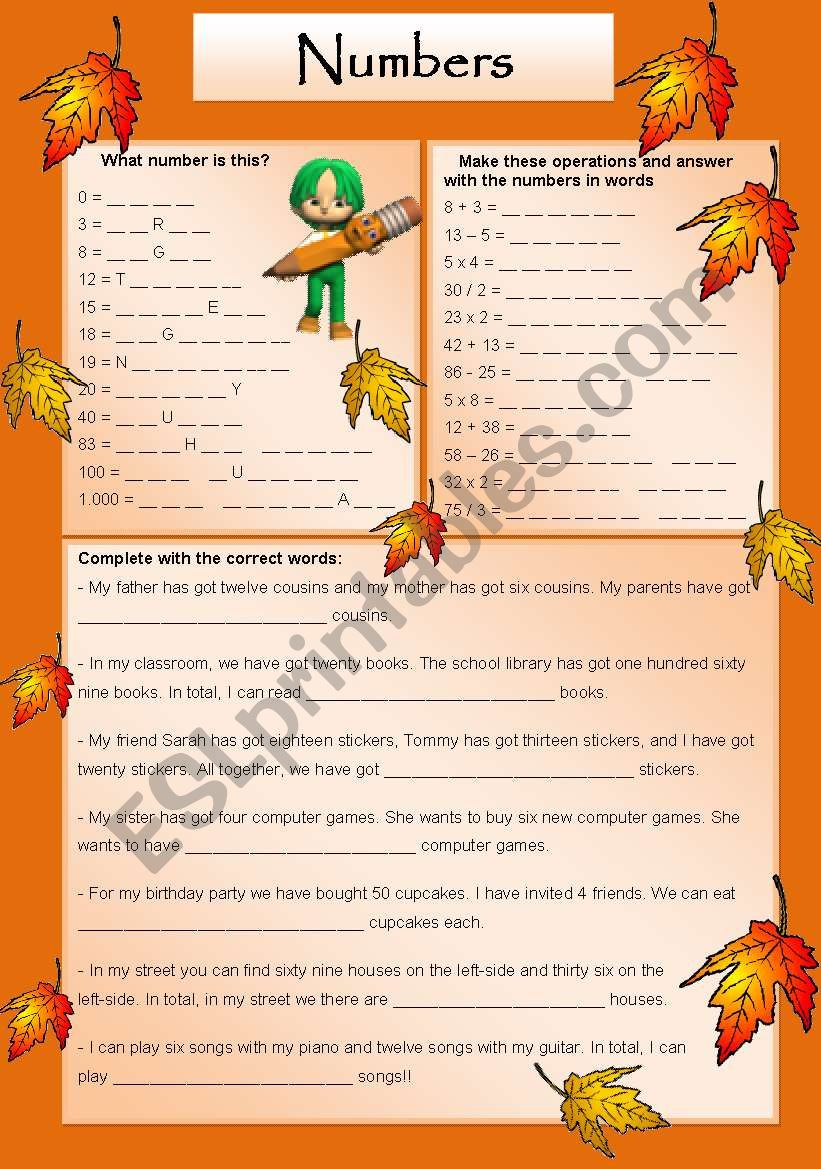 Let´s play with numbers! worksheet
