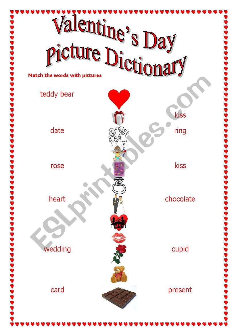 St Valentine s Day-match words with pictures