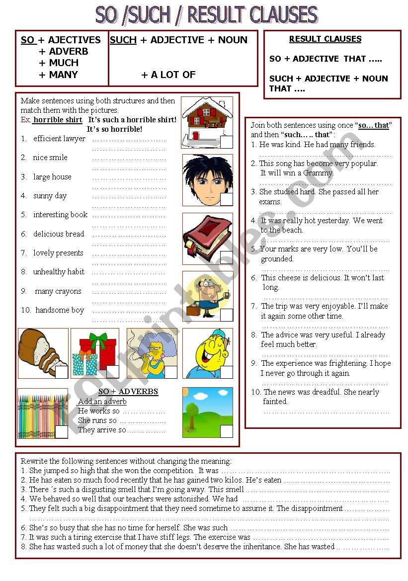 SO, SUCH & RESULT CLAUSES  worksheet