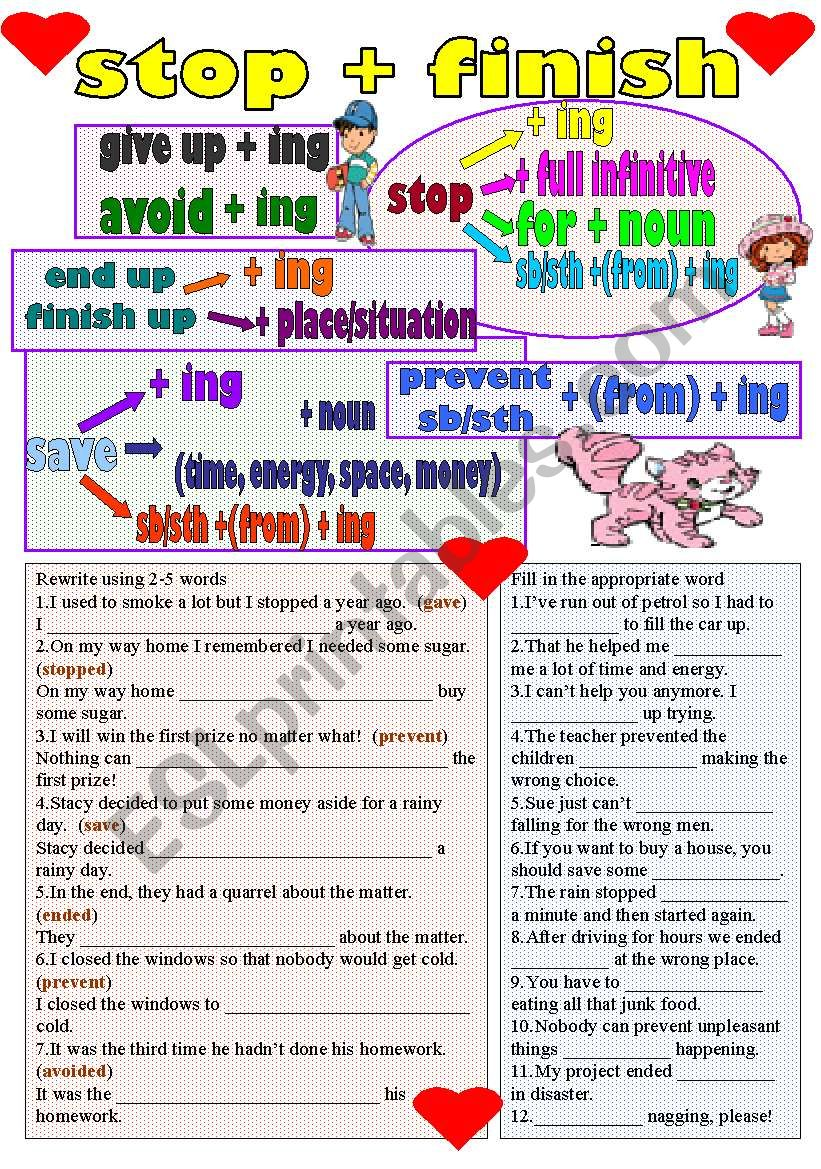 stop-finish worksheet
