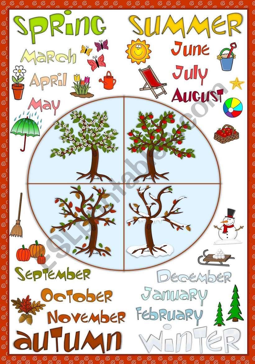 Seasons - POSTER - ESL worksheet by mada_1